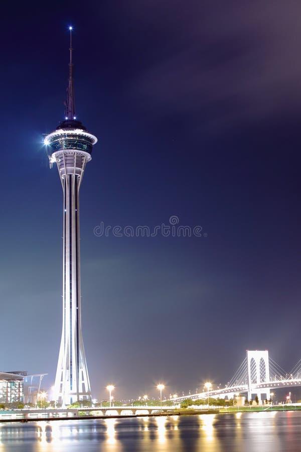 De mening van de nacht in Macao. stock foto's