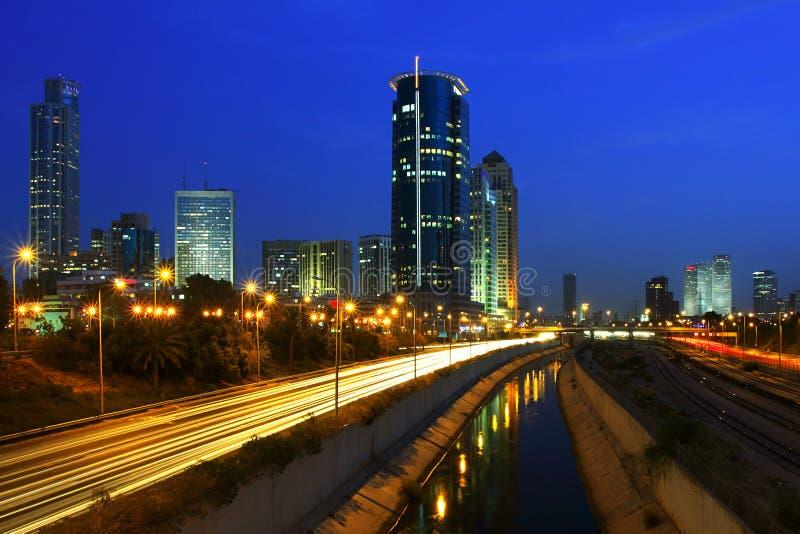 De mening van de nacht over Tel Aviv. royalty-vrije stock fotografie
