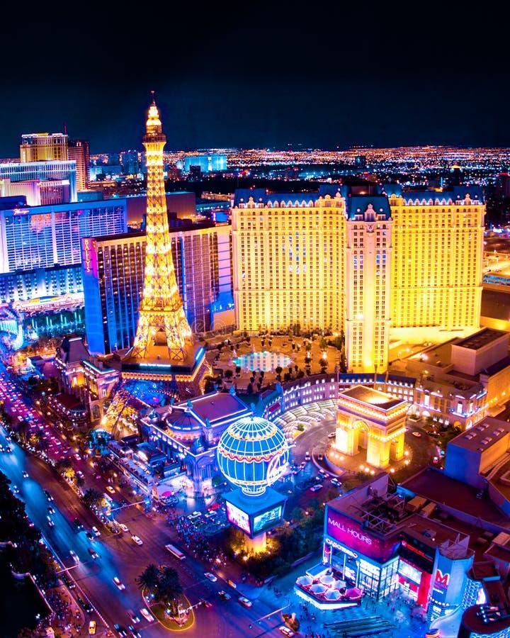 De Mening van de Nacht van Vegas van Las stock foto