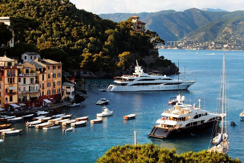 De mening van de prentbriefkaar van Portofino royalty-vrije stock afbeelding