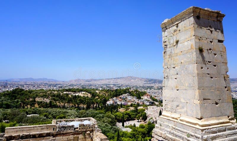 De mening van de stad van Athene stock afbeeldingen