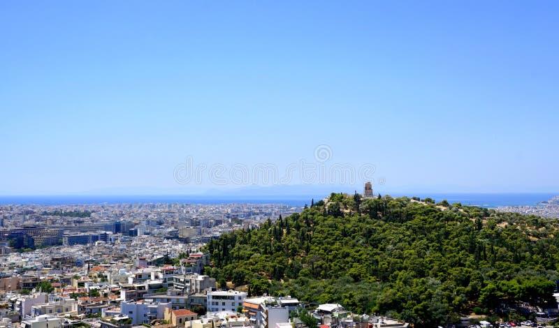 De mening van de stad van Athene stock fotografie
