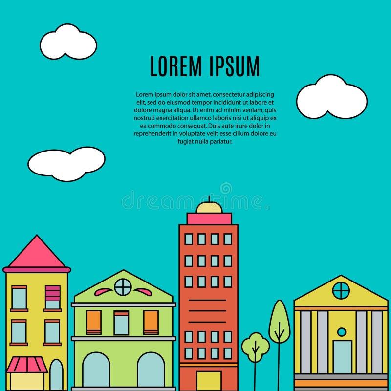De mening van de stadsstraat De huizen van onroerende goederen?, Vlakten voor verkoop of voor huur Moderne gebouwen Vectorbanner, stock illustratie