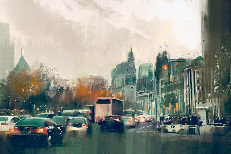 De mening van de stadsstraat met verkeer, Shanghai de Dijk stock foto's