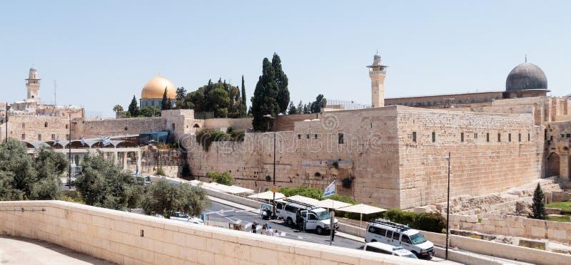 De mening van de Tempel zet in de Oude Stad van Jeruzalem, Israël op stock foto's