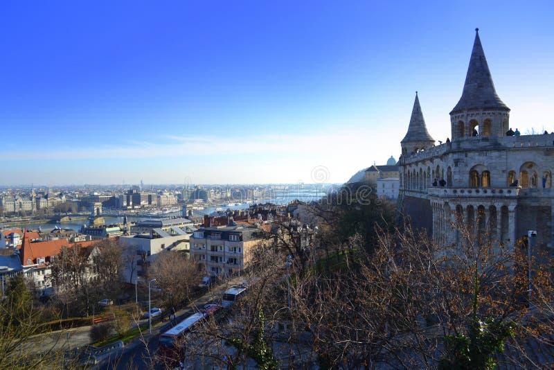 De mening van de VissersBastion van Boedapest royalty-vrije stock afbeelding