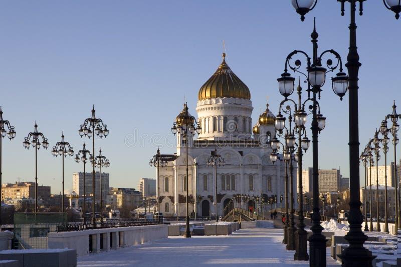 De mening van de winter over Christus de Kathedraal Moskou van de Verlosser stock afbeeldingen
