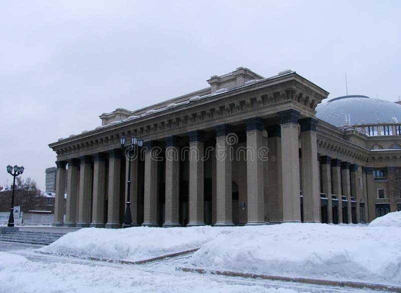De mening van de winter over de Opera van Novosibirsk en het Theater van het Ballet stock foto