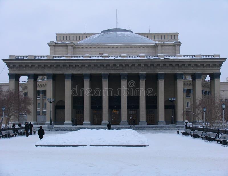 De mening van de winter over de Opera van Novosibirsk en het Theater van het Ballet stock afbeeldingen