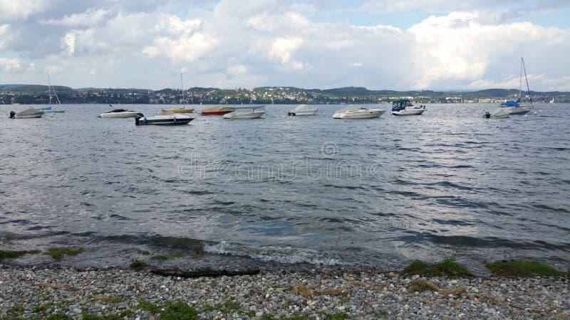 De mening van Dingeldorf aan Ãœberlingen van het Meer van Konstanz stock foto