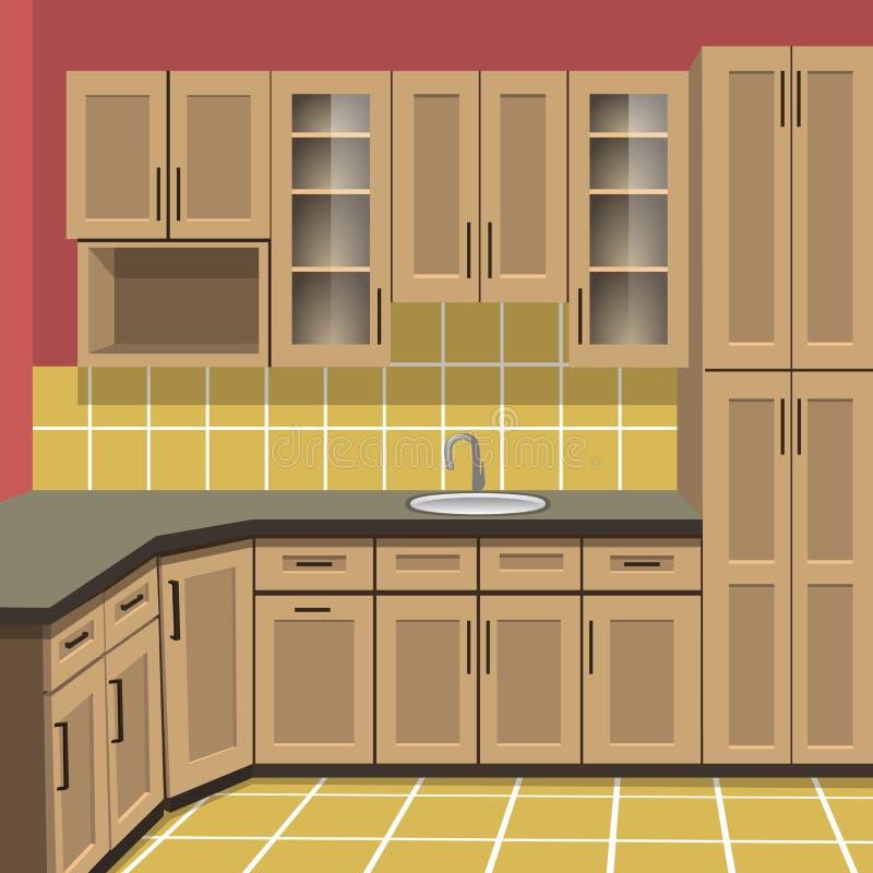 De mening van eiland, uncurtained venster en open deur aan stakingsdek royalty-vrije illustratie