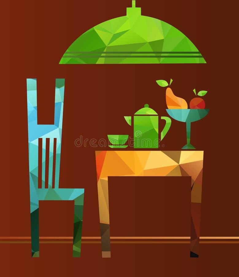 De mening van eiland, uncurtained venster en open deur aan stakingsdek stock illustratie