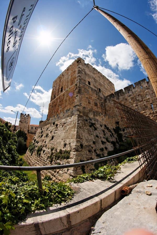 De mening van Fisheye van de oude citadel in Jeruzalem royalty-vrije stock afbeeldingen