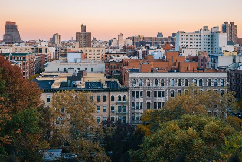 De mening van de de herfstzonsondergang over Harlem van Morningside-Hoogten de Stad in van Manhattan, New York royalty-vrije stock foto