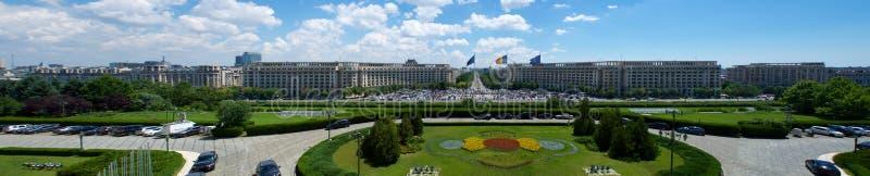 De mening van het Ceausescupaleis van het Parlement Boekarest Roemenië Europa royalty-vrije stock foto