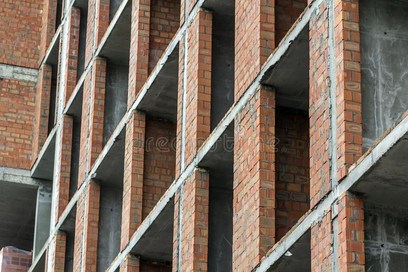 De mening van het close-updetail van het nieuw modern woonwerk van de woningbouwbouwwerf in aanbouw Real Estate-Ontwikkeling royalty-vrije stock afbeeldingen