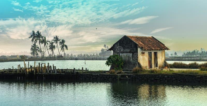De mening van het dorpsmeer in Kerala royalty-vrije stock afbeelding