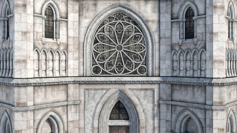De mening van het geheimzinnige kasteel en zijn middendeel met het venster royalty-vrije illustratie