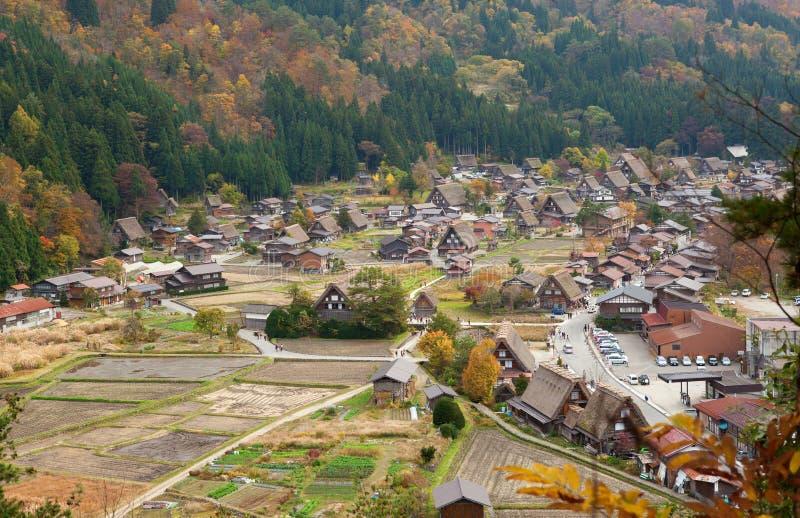 De mening van het historische dorp shirakawa-gaat stock foto
