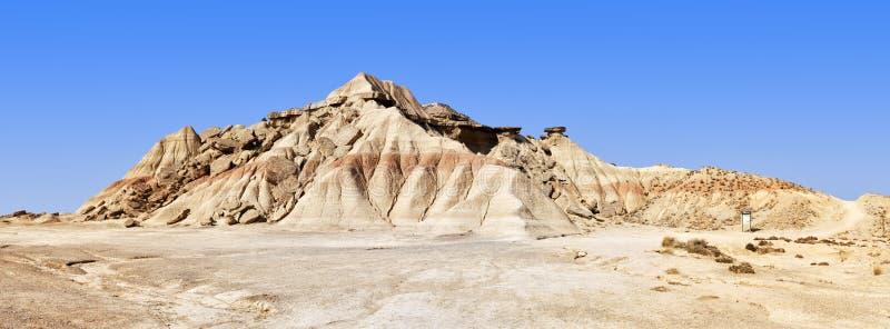 De mening van het landschap van het park van Las Bardenas Reales stock foto's