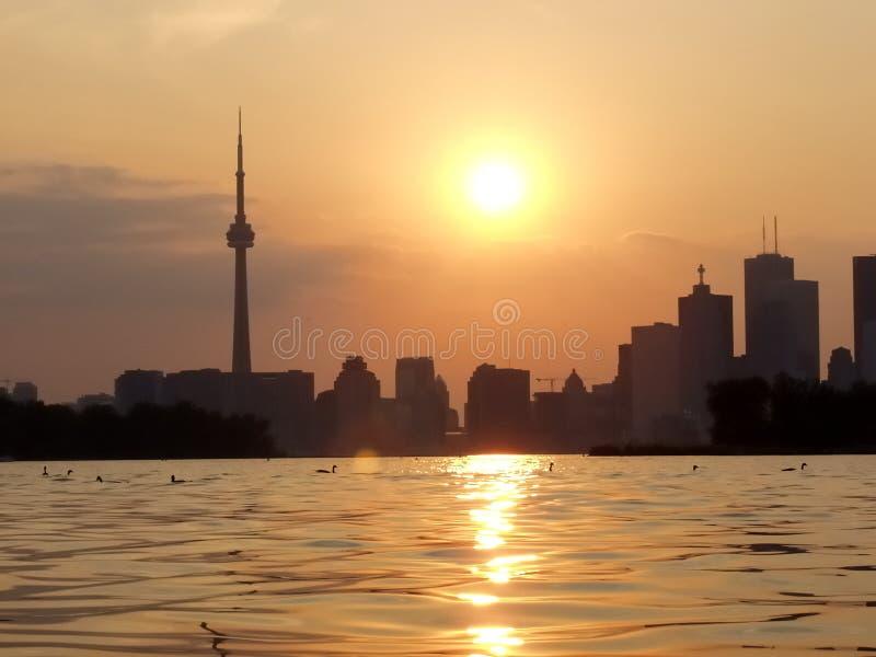 De mening van het zonsondergangmeer van Toronto van de binnenstad stock afbeelding