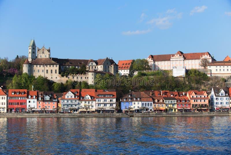 De Mening van het Meersburgkasteel van het Meer van Konstanz stock foto's