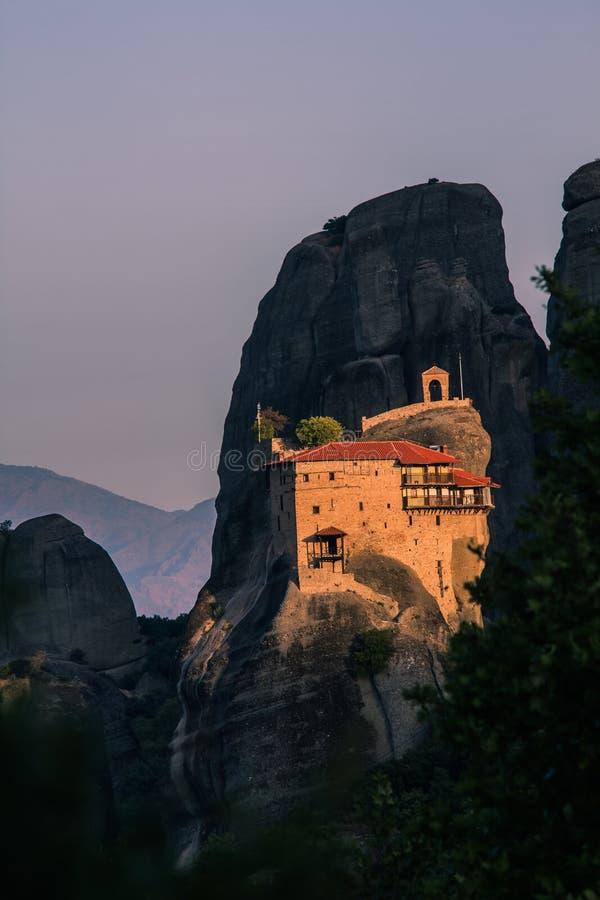 De mening van het Meteoraklooster, Macedonisch Griekenland stock fotografie