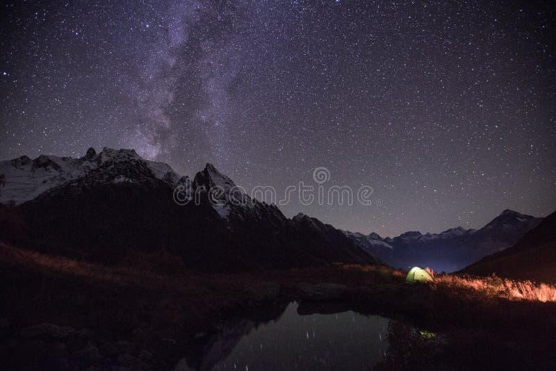 De mening van het nachtmeer dichtbij Churchkhur-rivier stock afbeeldingen
