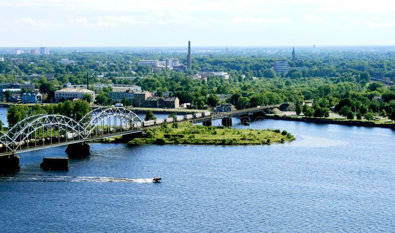De mening van het panorama van Riga stock foto's