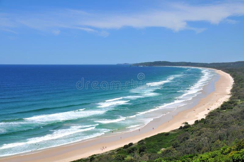 De mening van het strand bij Baai Byron royalty-vrije stock foto