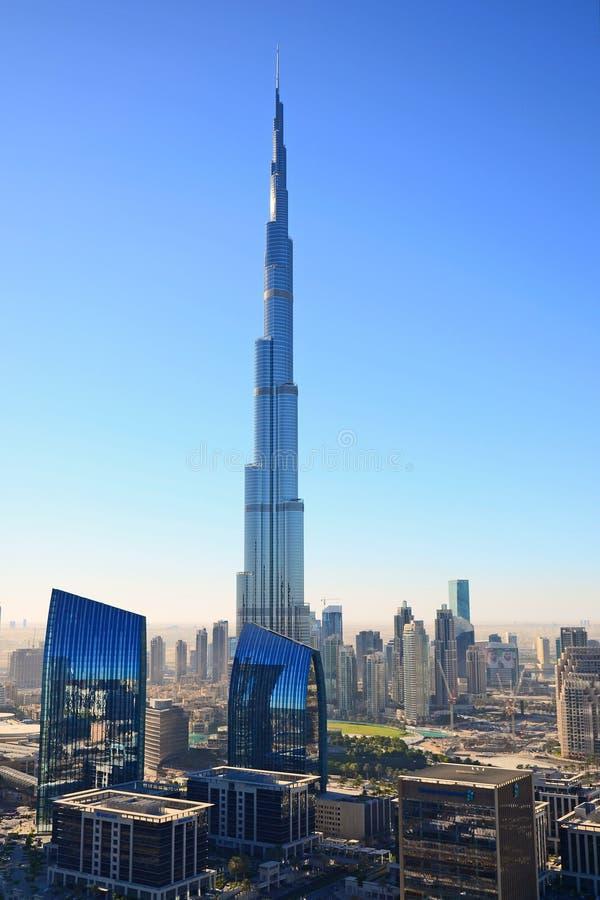 De mening van het vogel` s oog van Doubai Burj Khalifa stock fotografie