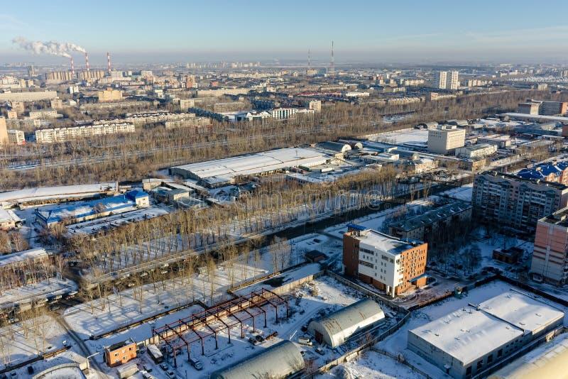 De mening van het vogeloog over 30 liet Pobedy-straat Tyumen Rusland stock afbeeldingen