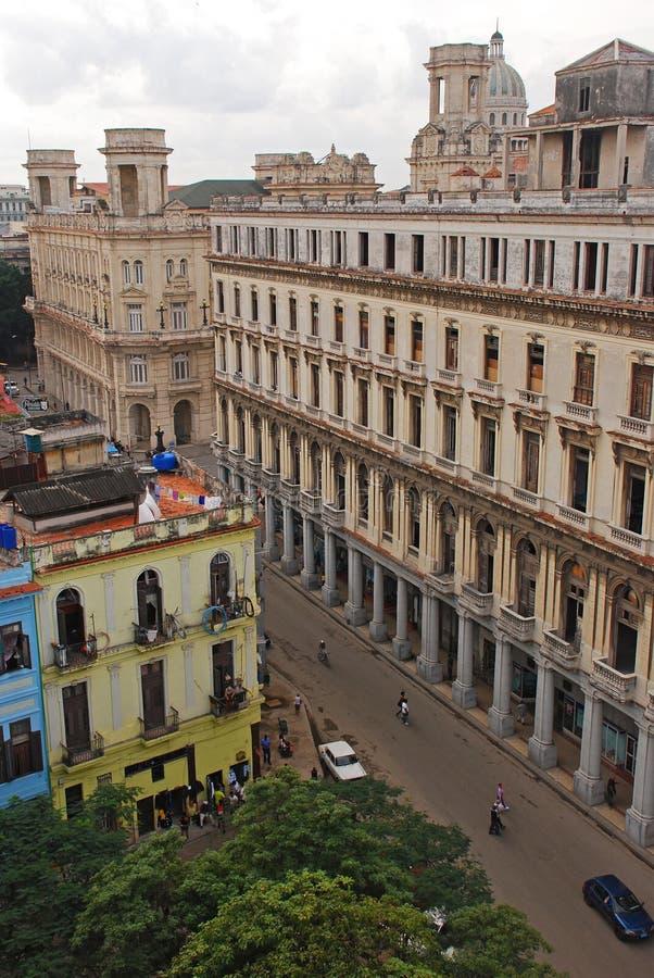 De mening van het vogeloog van een straat met groene bomen in Havana, Cuba royalty-vrije stock foto's