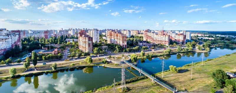 De mening van het vogelsoog van Troieshchyna-district van Kiev, de Oekraïne stock foto's