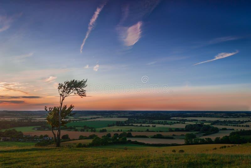 De mening van het zonsondergangplatteland stock foto