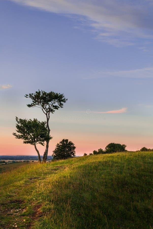 De mening van het zonsondergangplatteland stock afbeeldingen