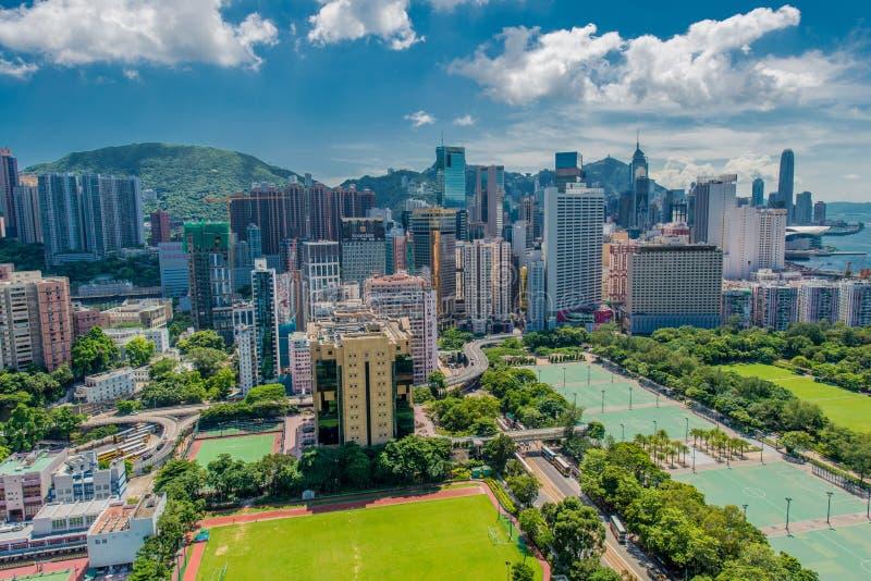 De mening van Hongkong tijdens zonnige dag royalty-vrije stock afbeelding