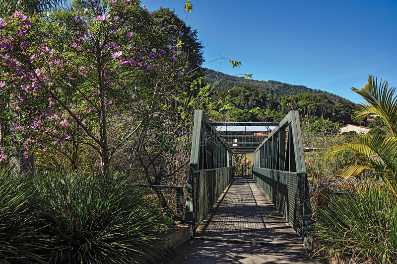 De mening van ijzerbrug over kleine rivier in Monte Alegre doet Sul royalty-vrije stock foto's