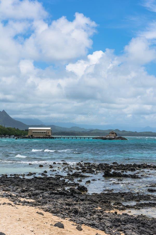 De mening van de Kaupoinham van Kaupo-Baai, Oahu, Hawaï stock foto's