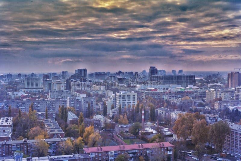 De mening van de Krasnodarstad van boven genomen met een hommel royalty-vrije stock afbeeldingen