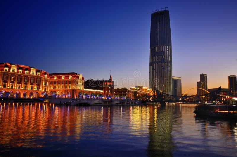 De mening van LandscapeâNight van de Stad van Tianjin royalty-vrije stock fotografie