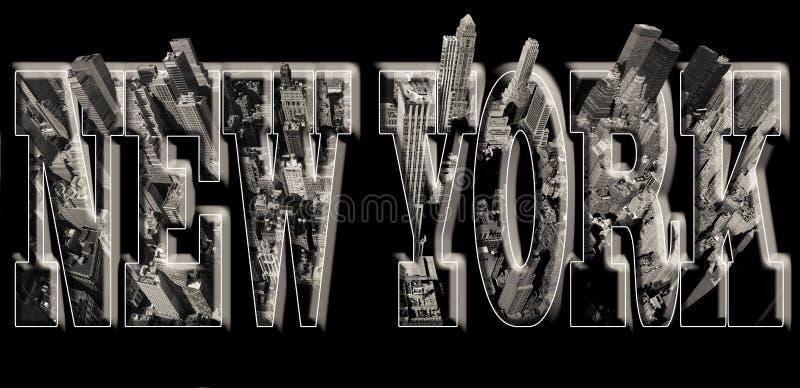 De mening van Manhattan over New York met hulp vector illustratie