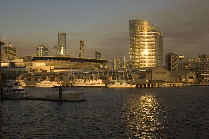 De mening van Melbourne docklands royalty-vrije stock foto's