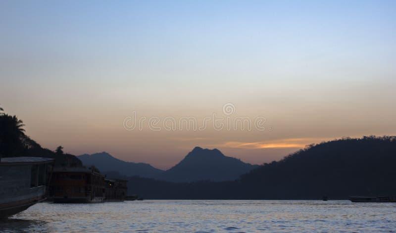 De mening van de Miekongrivier in Laos royalty-vrije stock foto