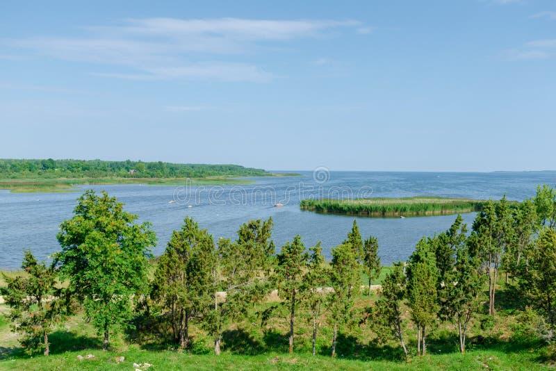 De mening van mooi ziet landschap in Saaremaa, Estland stock afbeeldingen