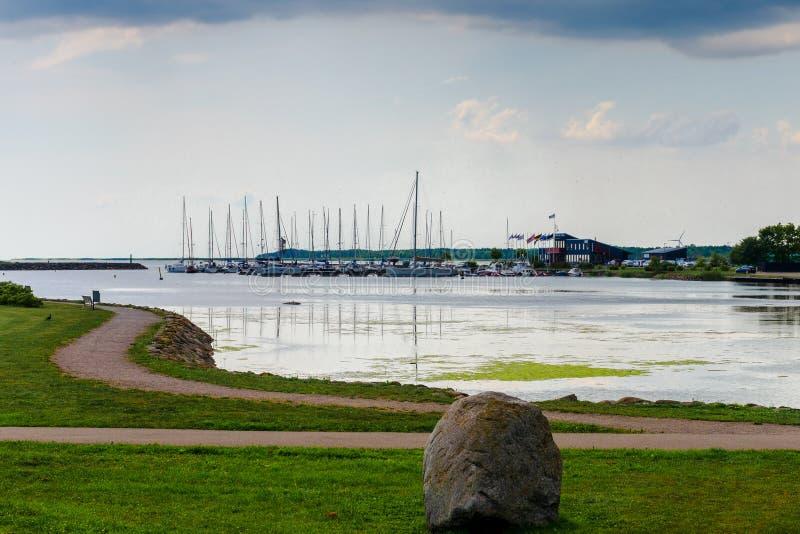 De mening van mooi ziet landschap in Saaremaa, Estland royalty-vrije stock afbeeldingen