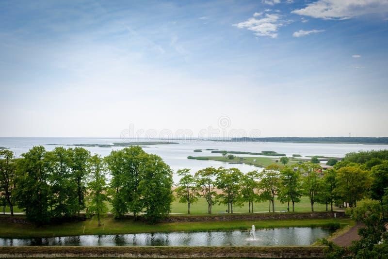 De mening van mooi ziet landschap in Saaremaa, Estland royalty-vrije stock foto