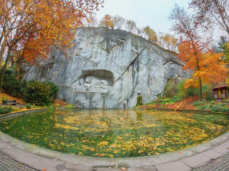 De mening van de olieverfschilderijillustratie van Stervende Leeuw of Leeuw van Luzerne-monument in Luzerne, Zwitserland stock foto's