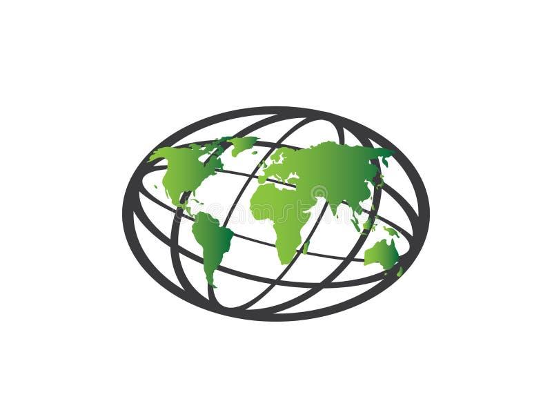 De mening van de planeetkaart satillite met lijnen voor de vector van het embleemontwerp, bolpictogram, aardesymbool royalty-vrije illustratie