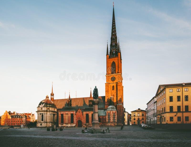 De mening van de Riddarholmkerk in Stockholm stock afbeelding